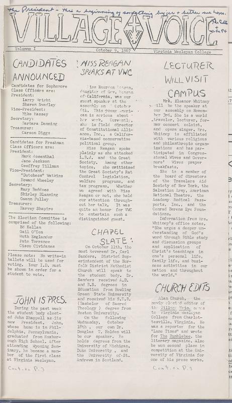 Village Voice, October 9, 1967, vol. 1