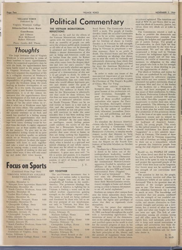 Village Voice, November 3, 1969, vol. 4, no. 2
