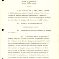 Articles of incorporation of Virginia Wesleyan College<br /><br />